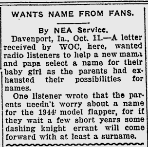 Wants Name From Fans article 1923
