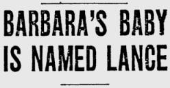 Barbara's Baby Named Lance