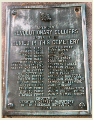 Names of American revolutionary soldiers at the Old Burying Ground, Arlington, MA
