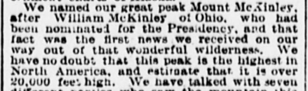 """William Dickey, """"Discoveries in Alaska,"""" 1897, about Mt. McKinley"""