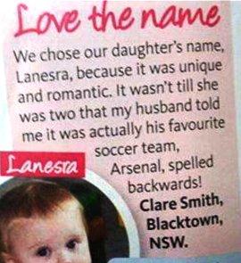Lanesra, Arsenal spelled backwards