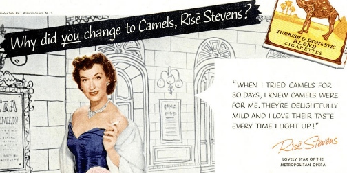 Risë Stevens, Camels cigarettes, advertisement, 1953