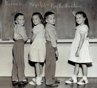 The Rosebush quads: Kenneth, Krystal, Keith, and Kristine.