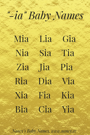 "List of 3-letter baby names ending with ""-ia"" such as Mia, Lia and Gia."