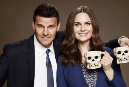 "Characters Seeley Booth and Temperance ""Bones"" Brennan from Bones."