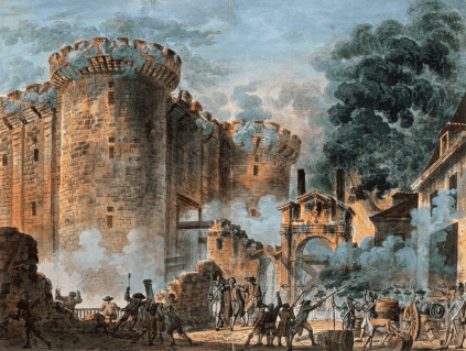 Painting of the storming of the Bastille in 1789.