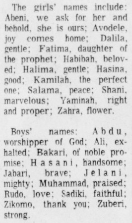 African names, newspaper article, 1973, baby names