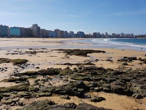A view across the sea front of Gijon in Asturias