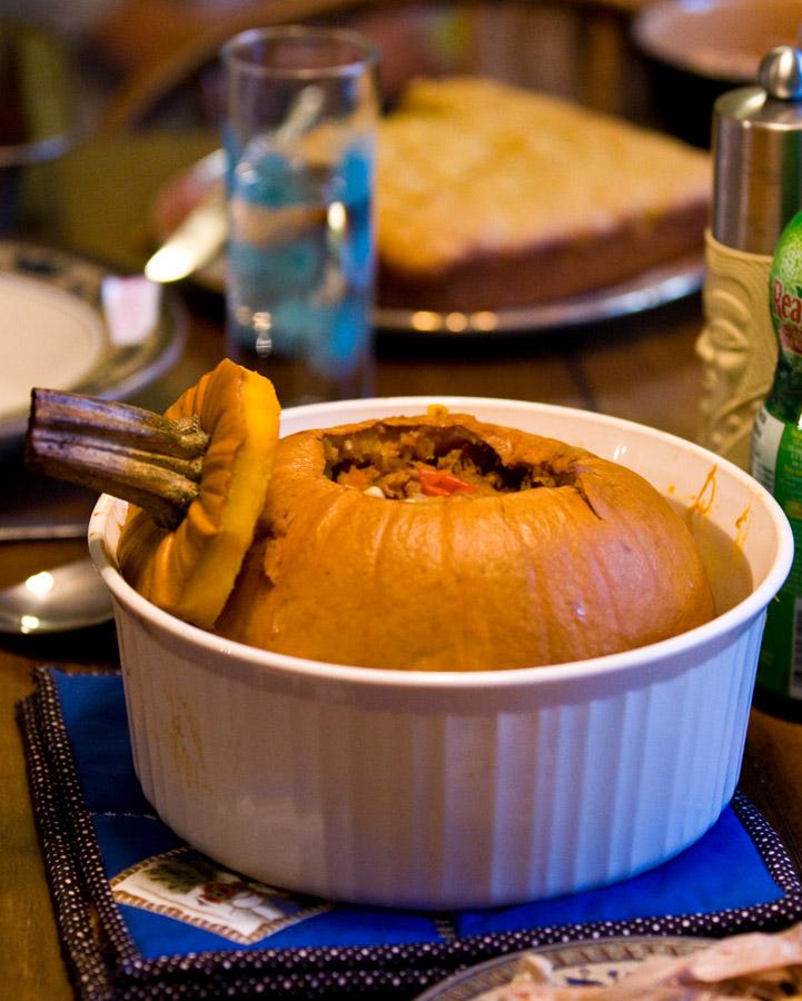 Chili Stew in a Pumpkin
