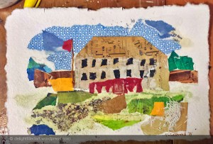 Fort Langley Big House collage on paper