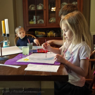 Kids painting in February