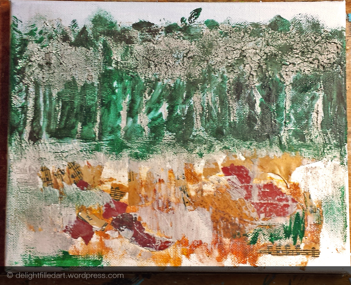 Step 3 - painted in the dark background of the forest.