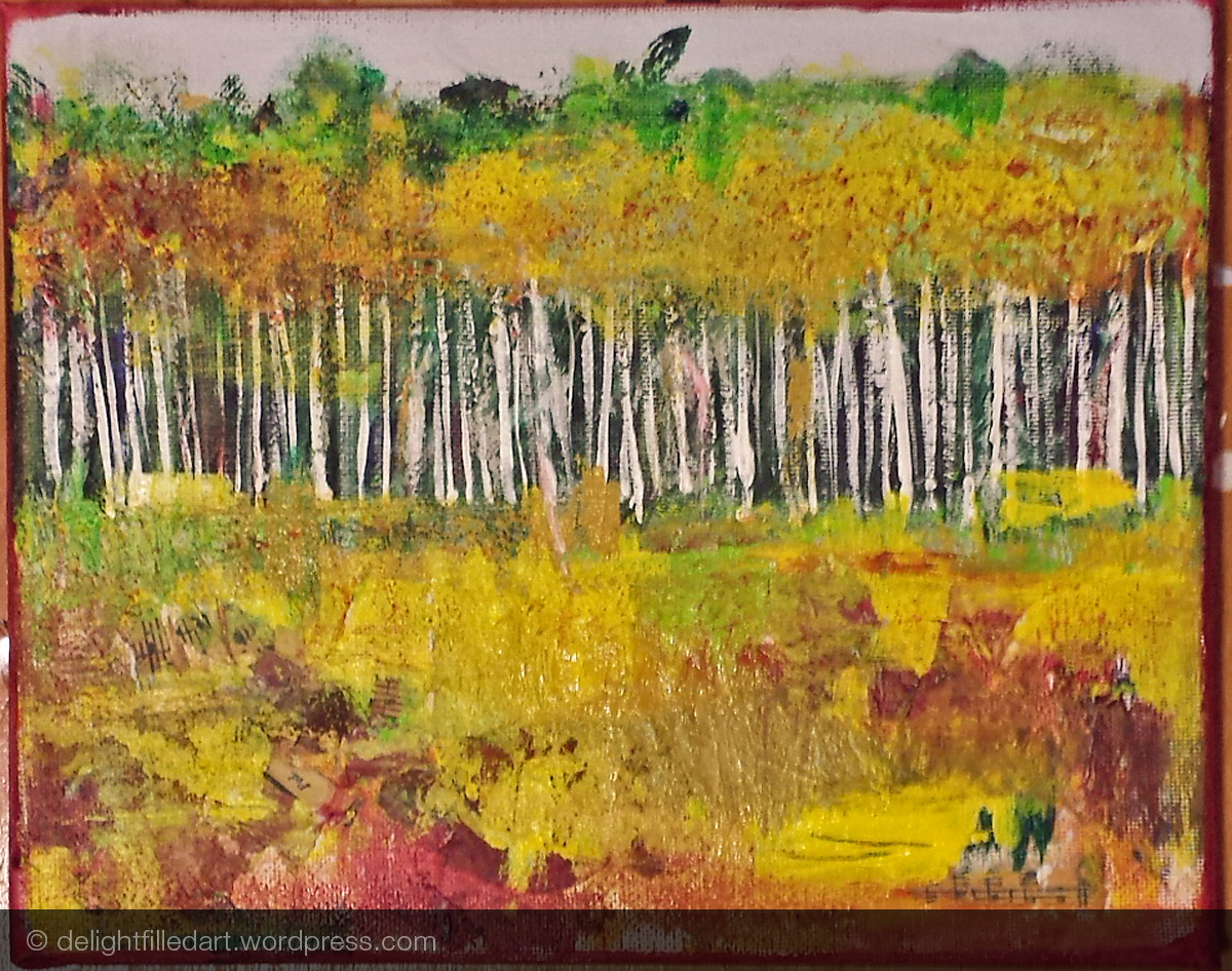 Step 5 - painted in the forest and started adding layers of colours.