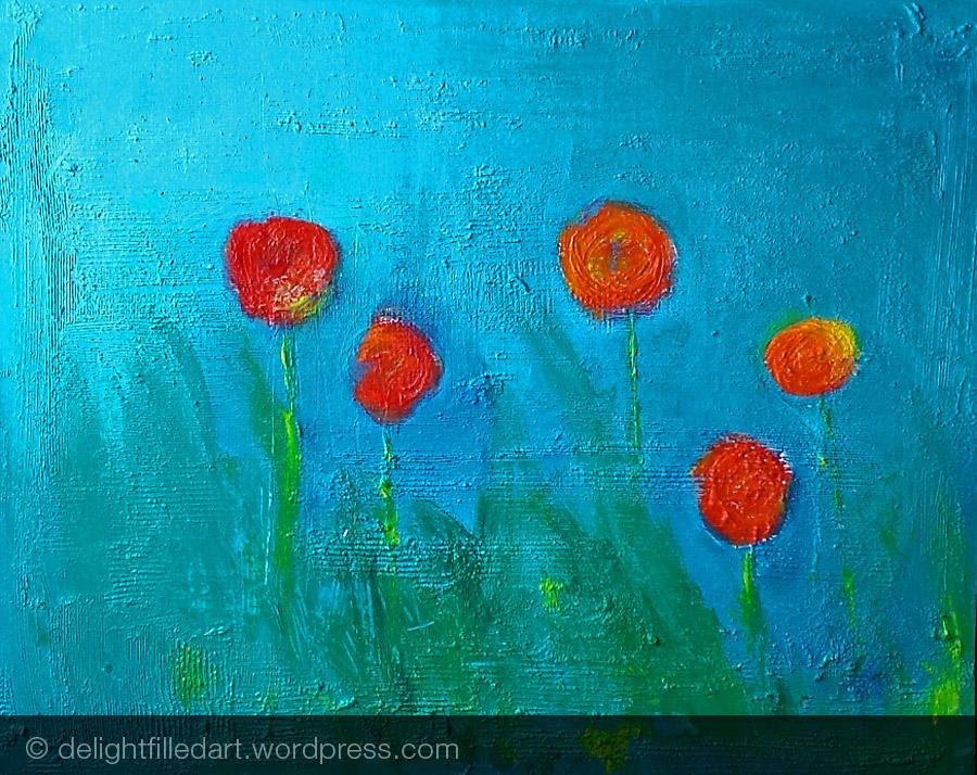 Flowers painting progress