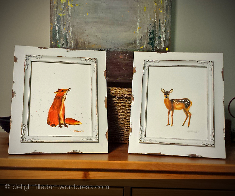 watercolour paintings of fox and fawn