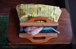 handmade bag with wooden handles