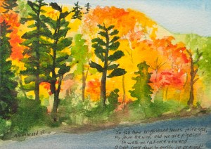 fall forest watercolour painting