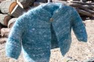 Handspun handknit garter stitch baby jacket