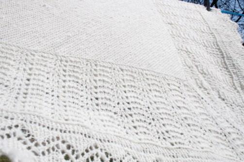 Handspun and Handknit Shetland lace shawl