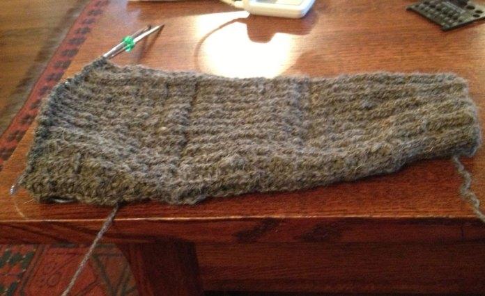 sleeve knit with handspun shetland wool yarn