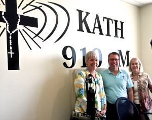 avid Palmer interviews Diane Roe and Nancy Ward at Guadalupe Radio Network studios about upcoming Sharing Your Faith Story Evangelization workshops, 8-4-16 (Photo by Diane Xavier)