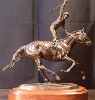 Across The Finish Line Bronze Sculpture - Nancy Weimer Belden