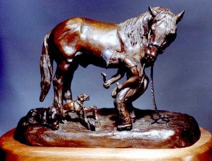Shoeing The Gentle Giant Bronze Sculpture - Nancy Weimer Belden
