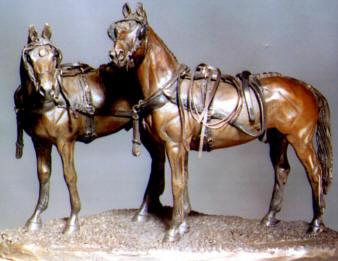 Waiting Pair Bronze Sculpture - Nancy Weimer Belden