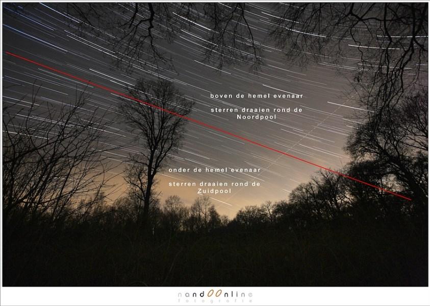 Zoek de hemel evenaar in deze foto met sterrenporen: waar draaien de sterren omheen?