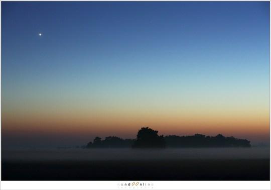 Venus als avondster schittert in de donker wordende lucht
