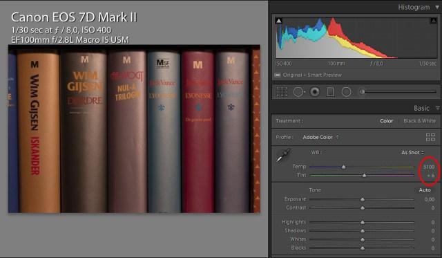 Daglicht instelling op de EOS 7D mark II geeft een witbalans van 5100K