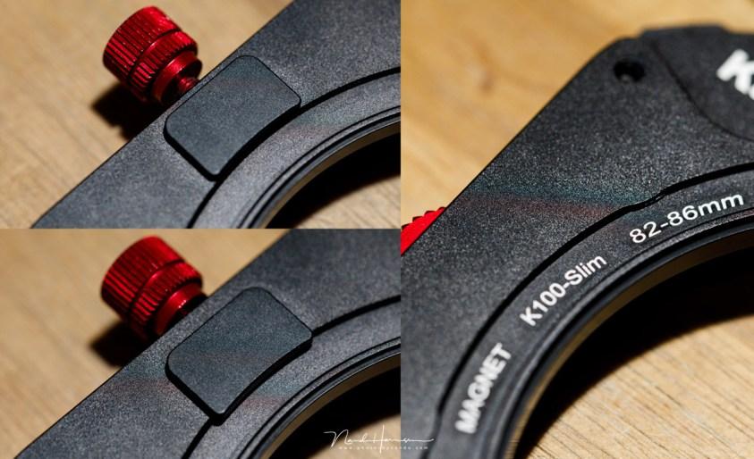 De K100 slimline filterhouder klemt stevig op de adapter ring, zonder gevaar om los te komen.