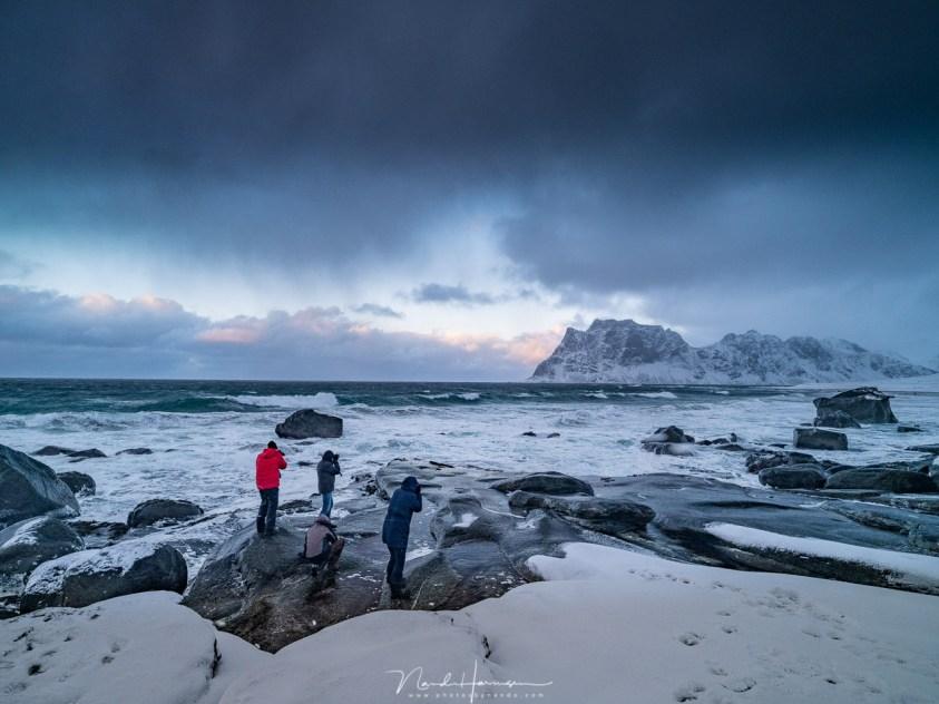 Fotograferen op het strand van Uttakleiv