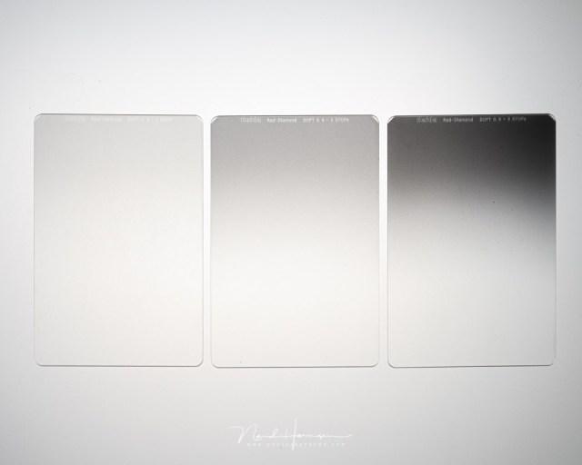 Drie Haida Red Diamond soft grijsverloopfilters. Van links naar rechts een 1 stop, 2 stop en 3 stop grijsverloop. Hoe kies je het juiste grijsverloopfilter?