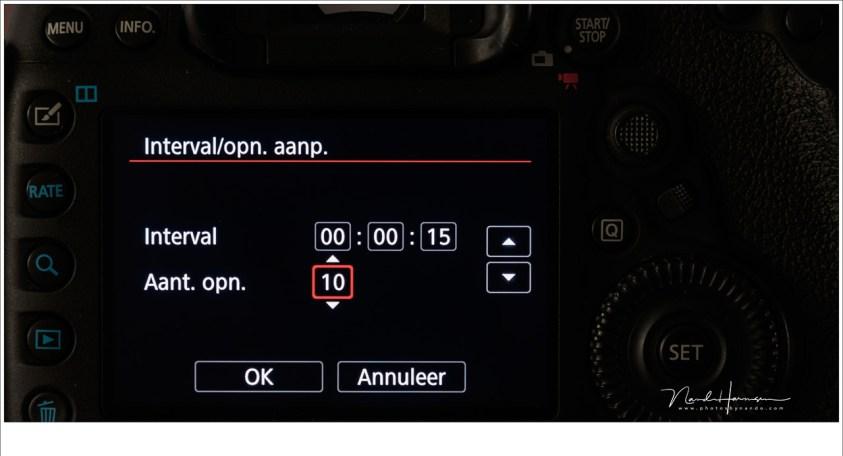 De interval instellingen van de Canon EOS 5D mark IV. Het is heel prettig als deze functie ingebouwd is, maar je kunt ook accesssoires kopen die dit voor je doen als de camera de functie niet heeft. Ga zelf aan de slag met een timelapse