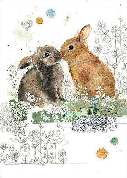 Bug Art Rabbit Kiss Blank Card BAF028