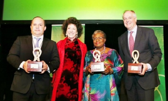 From left: Governor of the State of Para, Brazil Simaol Jatene, Peggy Rockefeller Dulany, Chair of Synergos, Minister for the Economy Dr. Ngozi Okonjo-Iweala, and CEO of Unilever, Paul Polman