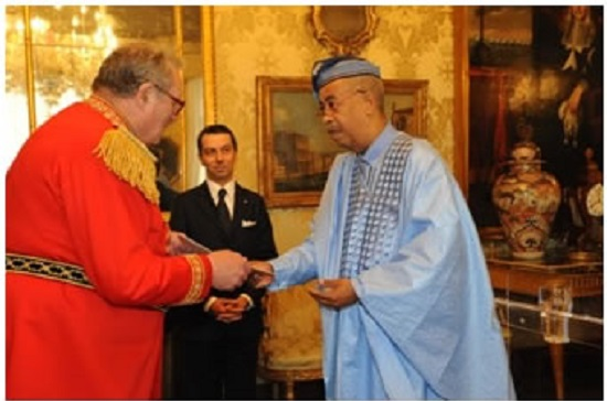 Amb von Ballmoos (right) presents Letters of Credence to Most Eminent Highness Fra' Matthew Festing
