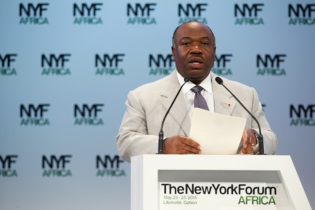 Gabonese President Bongo speaks at the last edition of the forum