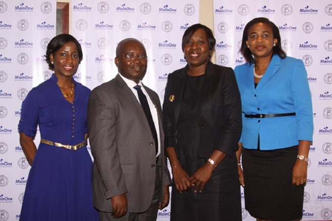 L-R: Head of Marketing, Jumoke Akande; Chief Financial Officer, Babatunde Dada; Chief Executive Officer, Funke Opeke and General Manager, Corporate Services and Development, Lynda Madu, all of MainOne, at the company's 5th Anniversary Press Conference in Lagos