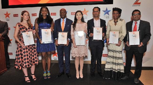 2015 African Business Awards winners. (L-R) Katerina Kyrili (BIMA), Oyinade Ogunade (GT Bank), Oscar Onyema (Nigerian Stock Exchange), Helen Hai, (Made in Africa Initiative) Mohammed Dewji (MeTL), Daphne Mashile Nkosi (Kalagadi Manganese), Arun Menon, Abellon.