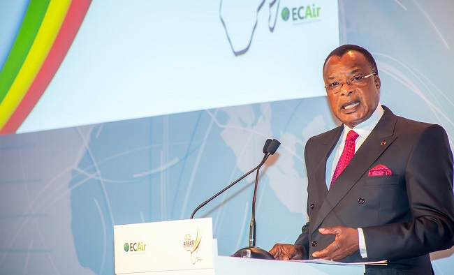 President Denis Sassou N'Guesso speaks at the event