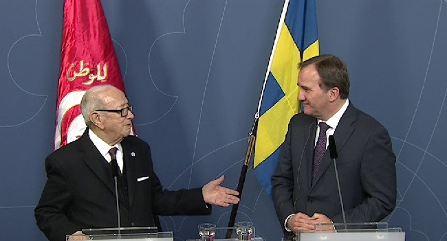 Tunisian President Essebsi (left) and Swedish Prime Minister Löfven at a press conference in Stockholm