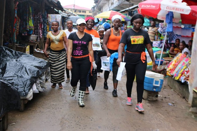 A group of Liberian women on the fundraising campaign