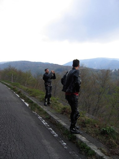 Out on the rougher roads of Nagano as bikers stop to take photos.
