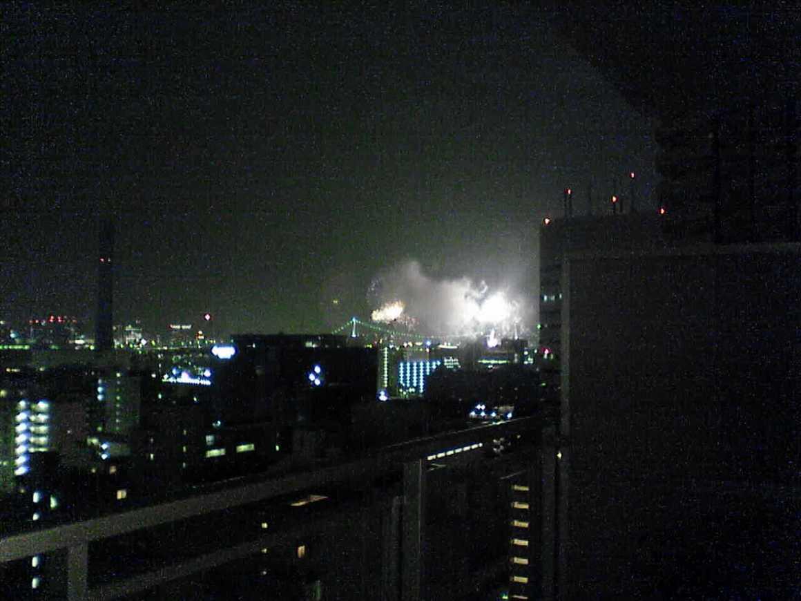 Tokyo Bay Hanabi - dark with fireworks - 2005