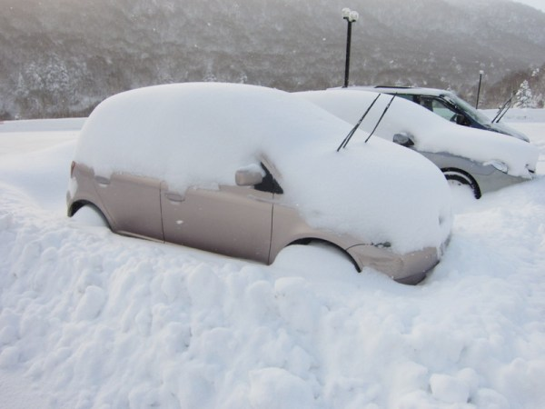 Dig out your car! The Yaris / Vitz under a pile of snow.