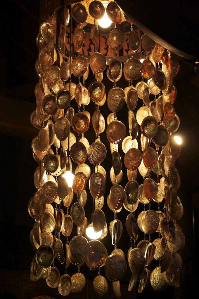decorative lights made from beaded shells