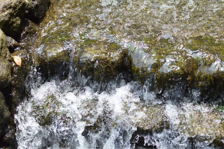 A man made waterfall in a family park in Kanagawa. Good for a water photo.