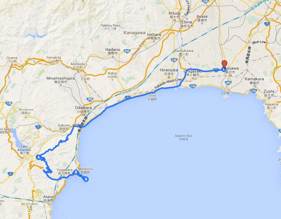My biking map to Manazuru